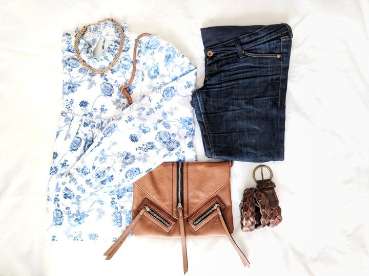 Zara china blue print blouse flatlay