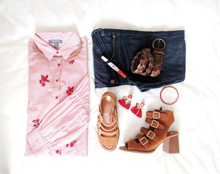 Flatlay with Primark shirt and over bump jeans
