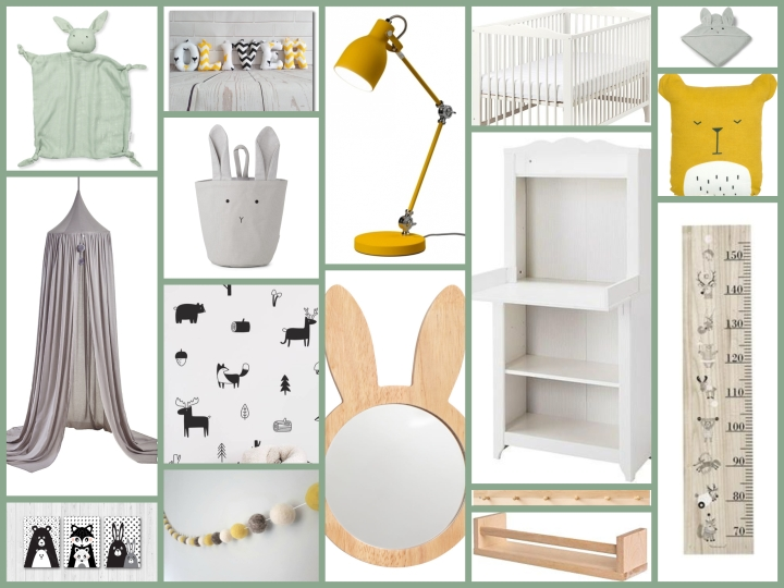 Moodboard: Scandi nursery in monochrome, mint and mustard
